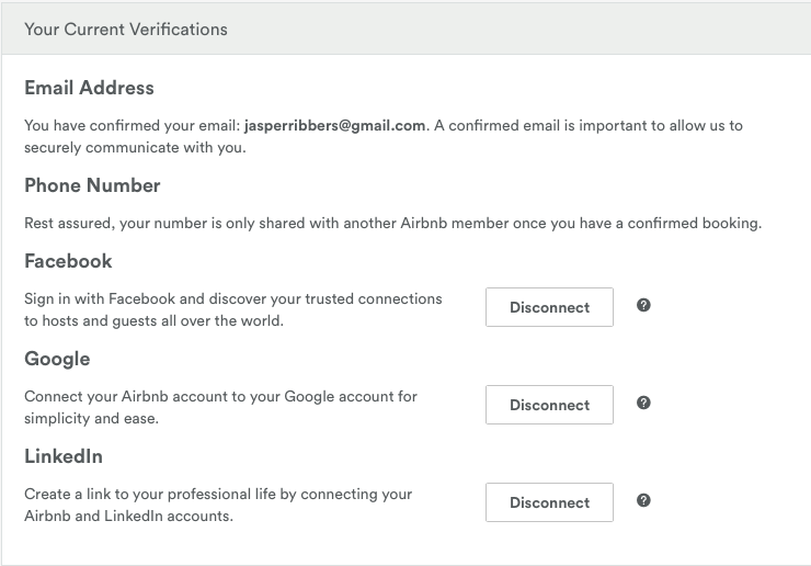 Airbnb verifications