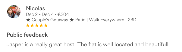 Five star Airbnb review