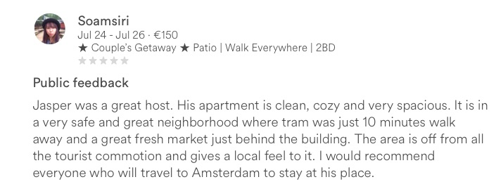 Airbnb zero star review