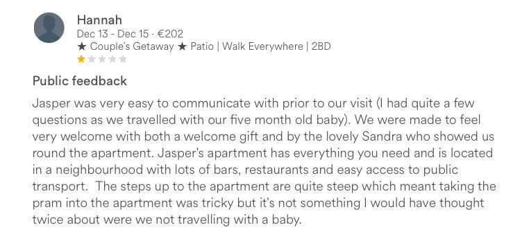 airbnb accidental one star review
