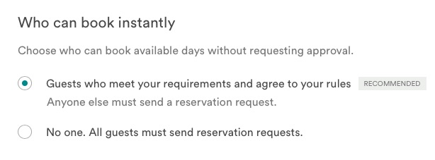 Airbnb instant book conditions