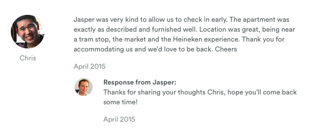 Respond to Airbnb reviews