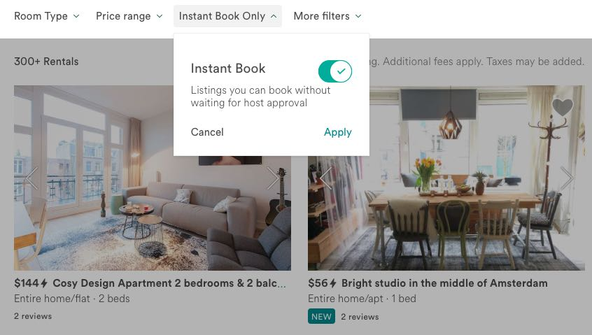 airbnb instant book filter in search