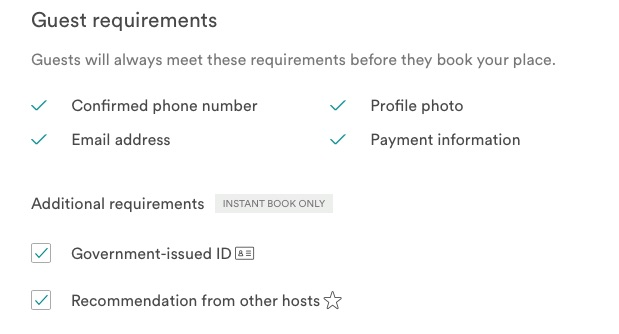 instant book guest requirements