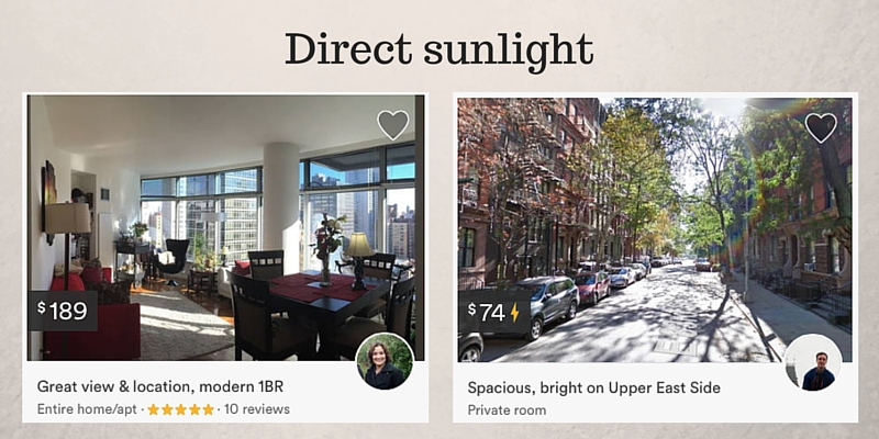 Airbnb photo mistake direct sunlight