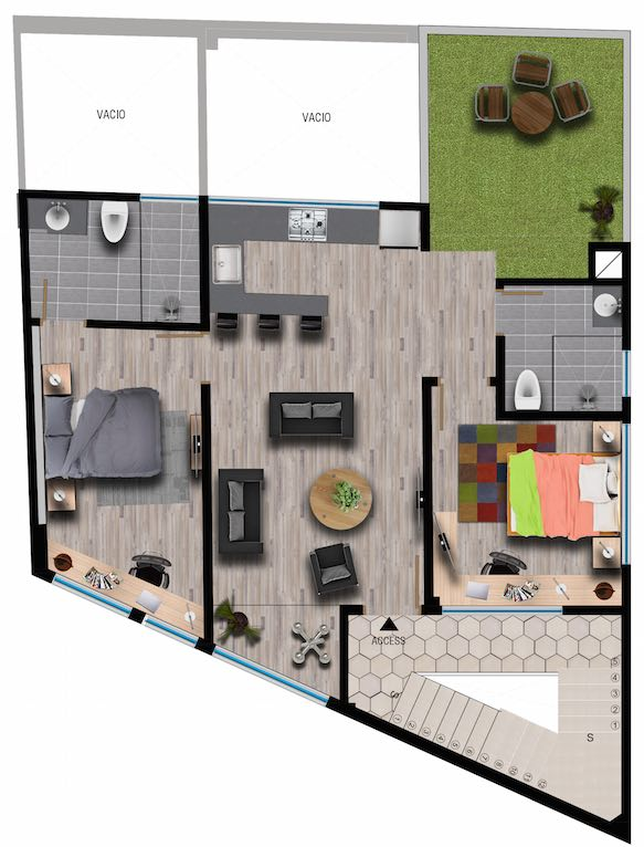 Floorplan Cali Penthouse Airbnb
