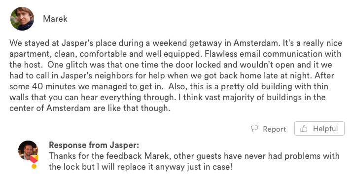 Airbnb review with feedback