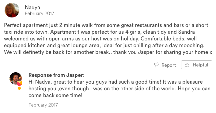 respond to airbnb guest review