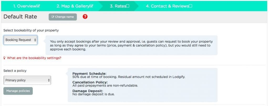 Lodgify booking and policy settings