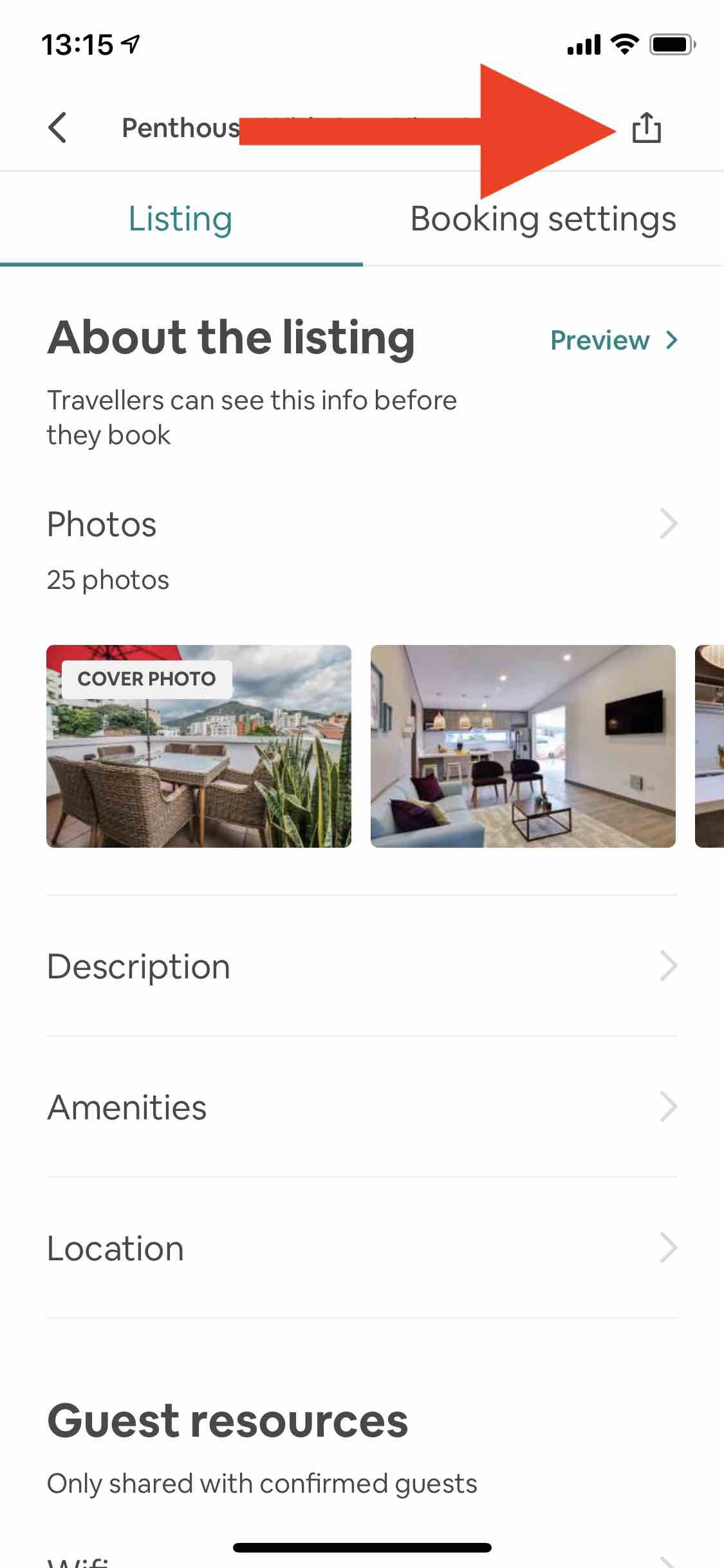 share airbnb listing app