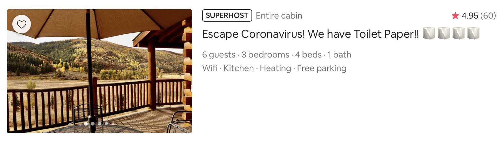 Coronavirus airbnb title example