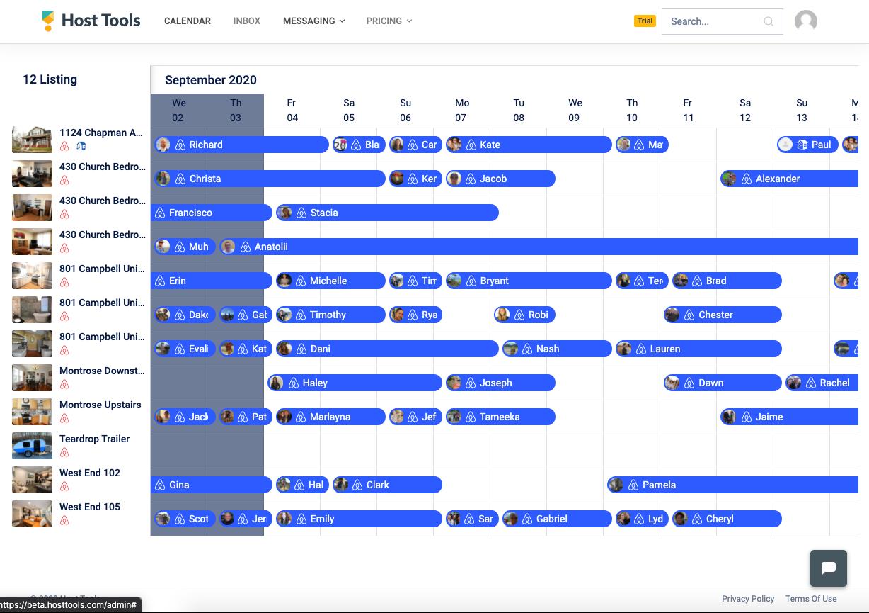 Host Tools multi calendar view